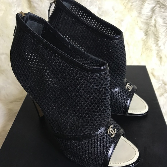 442cf7906 CHANEL Shoes   100 Authentic Mesh Peep Toe Booties   Poshmark
